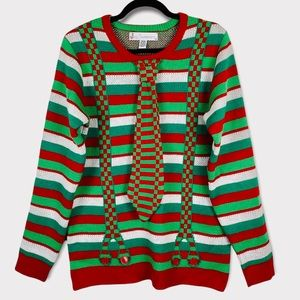Ugly Christmas Sweater Red Green Stripes Built In Neck Tie